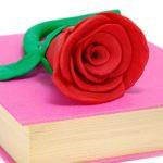 サンジョルディの日は本と赤いバラの花。